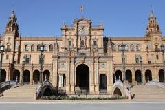 Edificio central del scuare de España de Sevilla fotografía de archivo libre de regalías