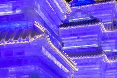 Edificio chino púrpura del hielo Fotos de archivo