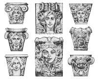 Edificio clásico antiguo del detalle elementos ornamentales arquitectónicos mostrar la columna de Toscano, dórica, iónica y roman stock de ilustración