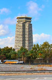 The Edificio Colon in Barcelona, Spain. Designed in 1970 by architects Anglada and Gelabert was the first major skyscraper in the city Stock Image