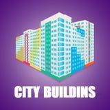 Edificio colorido de la alta subida en el perspectice Casa ilustración del vector