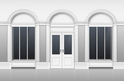 Edificio comercial con el escaparate de cristal, a puerta cerrada libre illustration
