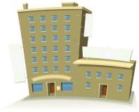 Edificio comercial de la historieta con los apartamentos y las banderas ilustración del vector