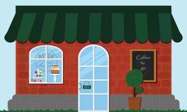 Edificio comercial de la panadería Café de la tarjeta Imagenes de archivo