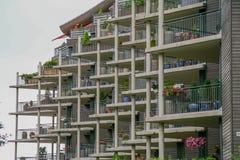 Edificio con el balcón Noruega del modelo Imágenes de archivo libres de regalías
