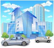 Edificio con el estacionamiento Imagenes de archivo