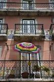 Edificio con los balcones en Portugal. Imagen de archivo