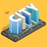 Edificio de alta calidad moderno de la ciudad Concepto plano isomérico del centro de ciudad Ejemplo del vector del fondo de los h Imágenes de archivo libres de regalías