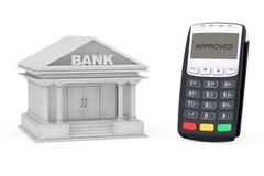 Edificio de banco cercano terminal del pago con tarjeta de crédito representación 3d Imágenes de archivo libres de regalías
