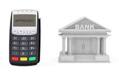 Edificio de banco cercano terminal del pago con tarjeta de crédito representación 3d Imagenes de archivo