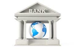 Edificio de banco con el globo de la tierra Foto de archivo