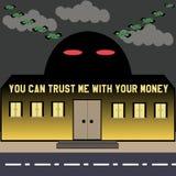 Edificio de banco y dinero del vuelo Fotografía de archivo libre de regalías