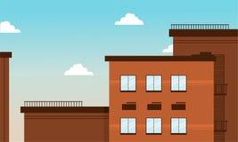 Edificio de Brown en vector plano de la historieta Imagen de archivo libre de regalías