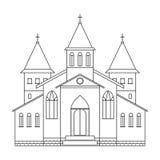 Edificio de iglesia Línea estilo del arte stock de ilustración