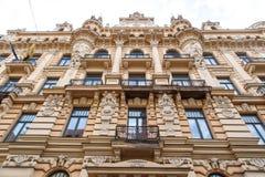 Edificio de Jugendstil en Riga Alberta Street Fotografía de archivo libre de regalías