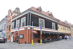 Edificio de Kaunas agosto 21,2014-Historic en Kaunas en Lituania Imagen de archivo libre de regalías