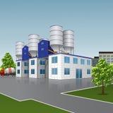 Edificio de la fábrica para la producción de hormigón con un reflectio ilustración del vector