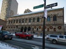 Edificio de la fundación de la biblioteca pública de Boston en invierno fotos de archivo libres de regalías