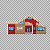 Edificio de la guardería en estilo plano en el ejemplo transparente del vector del fondo Educación de preescolar de la guardería stock de ilustración
