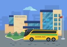 Edificio de la High School secundaria con el ejemplo amarillo del autobús Fotos de archivo