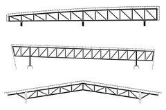 Edificio de la techumbre, detalle del marco de acero, sistema del braguero del tejado, ejemplo del vector ilustración del vector