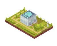 Edificio de la universidad con la disposición isométrica del parque stock de ilustración