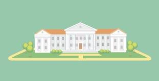 Edificio de la universidad o de la universidad Universidad de la graduación del campus, ejemplo del vector de la educación libre illustration