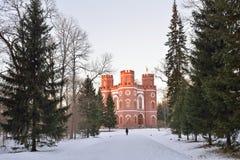 Edificio de ladrillo rojo con cuatro torres - el arsenal en el Alexand Fotografía de archivo libre de regalías