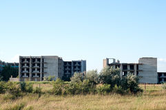 Edificio de ladrillo totalmente destruido Fotos de archivo libres de regalías