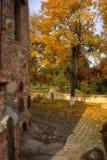 Edificio de madera del vintage en el otoño fotos de archivo