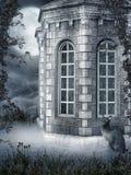 Edificio de niebla con un gato ilustración del vector