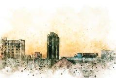 Edificio de oficinas abstracto en el capital en fondo de pintura de la acuarela Ciudad en el ejemplo de Digitaces ilustración del vector