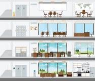 Edificio de oficinas cortado con el plan de concepción interior Fotografía de archivo libre de regalías