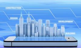 Edificio de oficinas del rascacielos en el teléfono Imagen de archivo