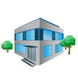 Edificio de oficinas del vector con los árboles Fotografía de archivo libre de regalías