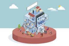 Edificio de oficinas en la visión isométrica stock de ilustración