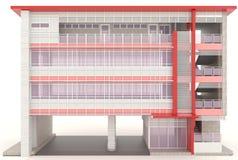 Edificio de oficinas moderno rojo 3D exterior en blanco Foto de archivo libre de regalías