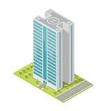 Edificio de oficinas realista, rascacielos isométrico, apartamentos modernos Ilustración del vector Foto de archivo