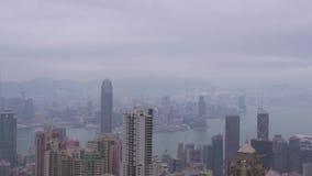 Edificio de oficinas y rascacielos modernos en la opini?n grande de la ciudad del pico de Victoria Edificios del negocio de la vi metrajes
