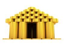 Edificio de oro. Vista delantera Fotos de archivo