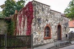 Edificio de piedra viejo adornado con las flores rojas en la ciudad de Cesis, Letonia Fotos de archivo libres de regalías