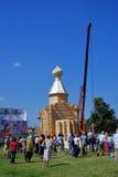 Edificio de una iglesia en un día en el parque de Tsaritsyno Fotografía de archivo