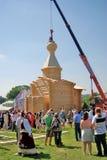 Edificio de una iglesia en un día en el parque de Tsaritsyno Fotografía de archivo libre de regalías