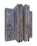 Edificio de varios pisos en blanco representación 3d Fotos de archivo libres de regalías
