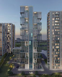 Edificio de varios pisos en la representación de la noche 3d Imágenes de archivo libres de regalías