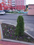 Edificio de varios pisos Un children& x27; patio y estacionamiento de s Fotografía de archivo libre de regalías