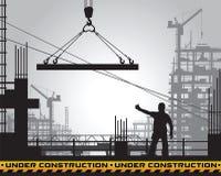 Edificio debajo de la silueta de la construcción stock de ilustración