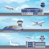 Edificio del aeropuerto con la torre de control Vector Imagen de archivo