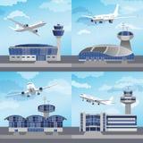 Edificio del aeropuerto con la torre de control Vector Imagenes de archivo