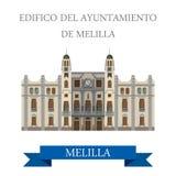 Edificio del Ayuntamiento de Melilla. Flat vector Royalty Free Stock Images